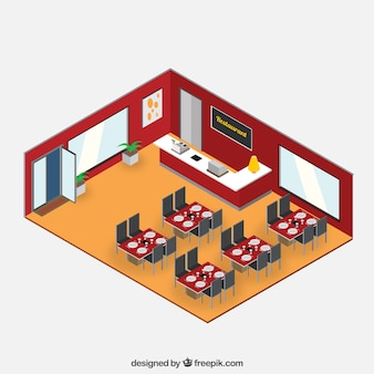 Isometric restaurant interior Illustration