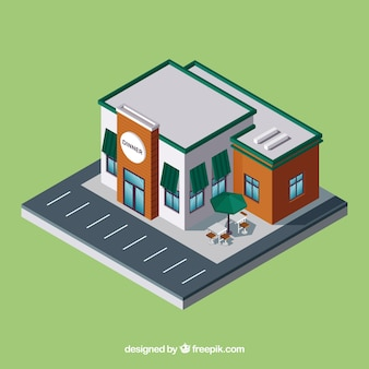 Isometric restaurant with parking lot