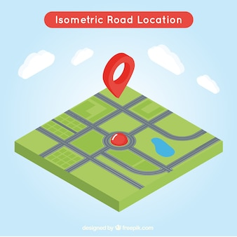 Isometric road map with a red pointer in the middle