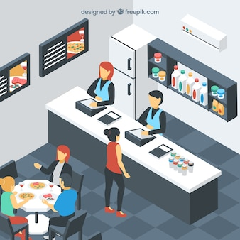 Isometric self-service restaurant with clients