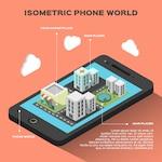Isometric smart phone infographic