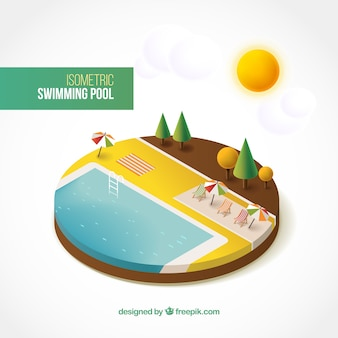 Isometric swimming pool in summertime