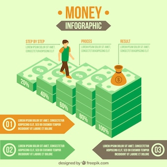 Isometric template of financial infographic