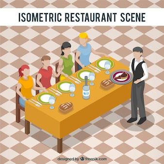 Isometric view for a restaurant scene