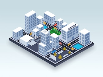 Isometric view of an urban city.