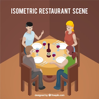 Isometric view of diners at a round table