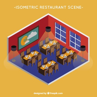 Isometric view of the dining room of a restaurant
