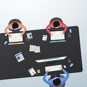 Isometric view of working businessmen.