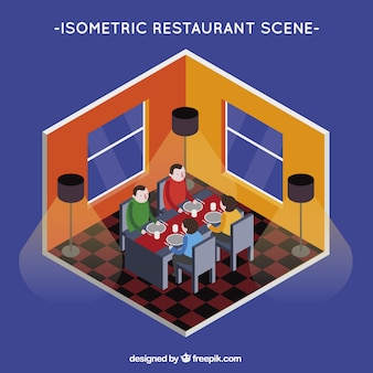 Isometric view, people dining in a restaurant