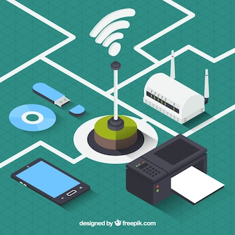 Isometric wifi background with variety of electronic devices