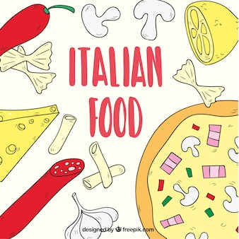 Italian food, hand drawn background