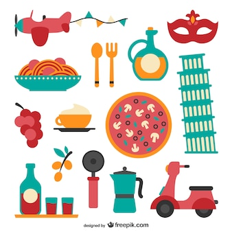 Italian food and elements collection
