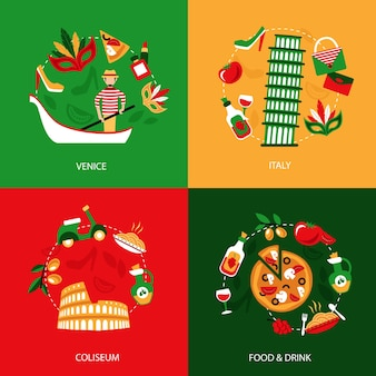 Italy venice coliseum food and drink decorative elements set isolated vector illustration