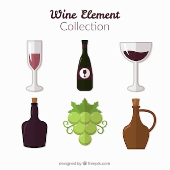 Items collection of wine in flat design