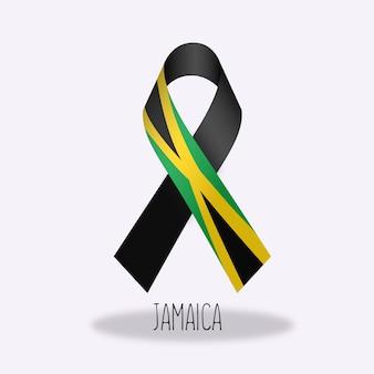 Jamaica flag ribbon design