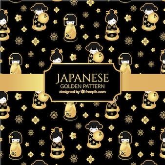 Японский фон, японская женщина и цветы