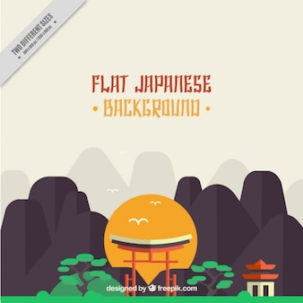Japanese background with mountains in flat design