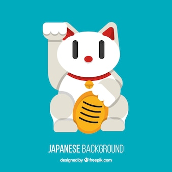 Japanese background with white maneki-neko in flat design