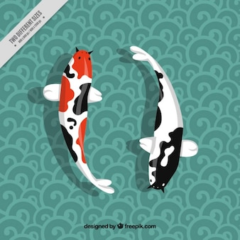 Japanese fishes on ornamental background