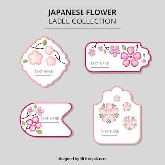 Japanese flowers labels
