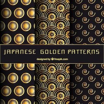 Japanese golden patterns set