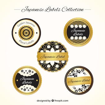 Japanese labels collection, black and gold
