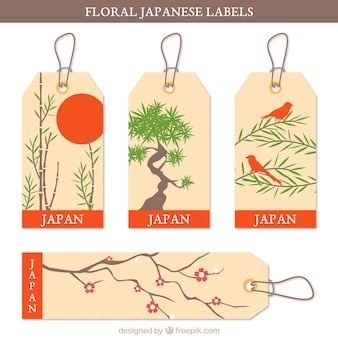 Japanese labels with floral themes