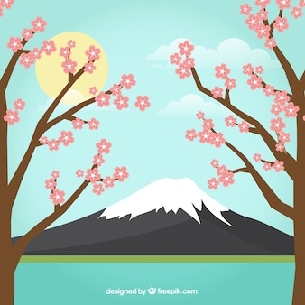 Japanese landscape background with trees