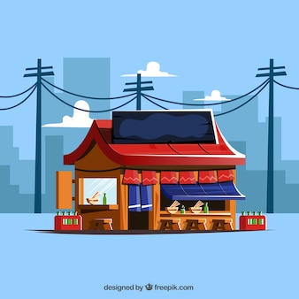 Japanese restaurant with cityscape