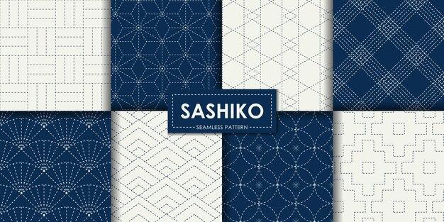 Japanese sashiko seamless pattern vector collection