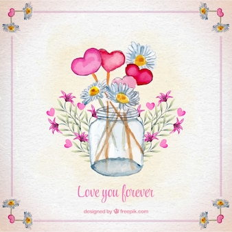 Jar background with watercolor flowers