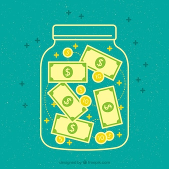 jar green background with banknotes and coins
