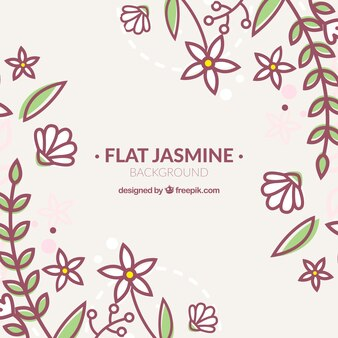Jasmine and leaves background in linear style