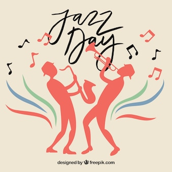 Jazz background with silhouettes of musicians