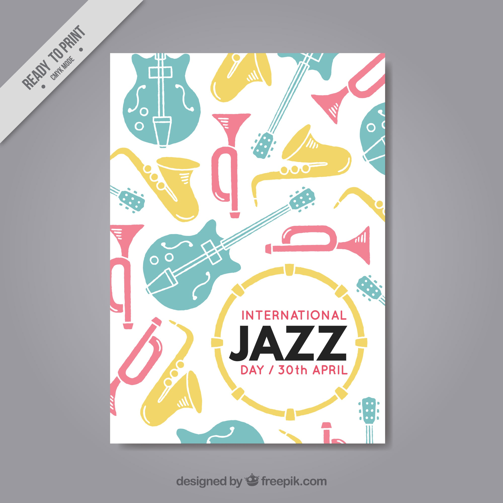 Jazz brochure with colored music instruments