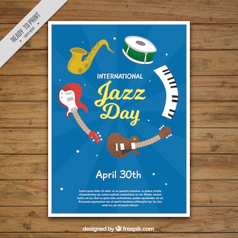 Jazz day brochure with music instruments