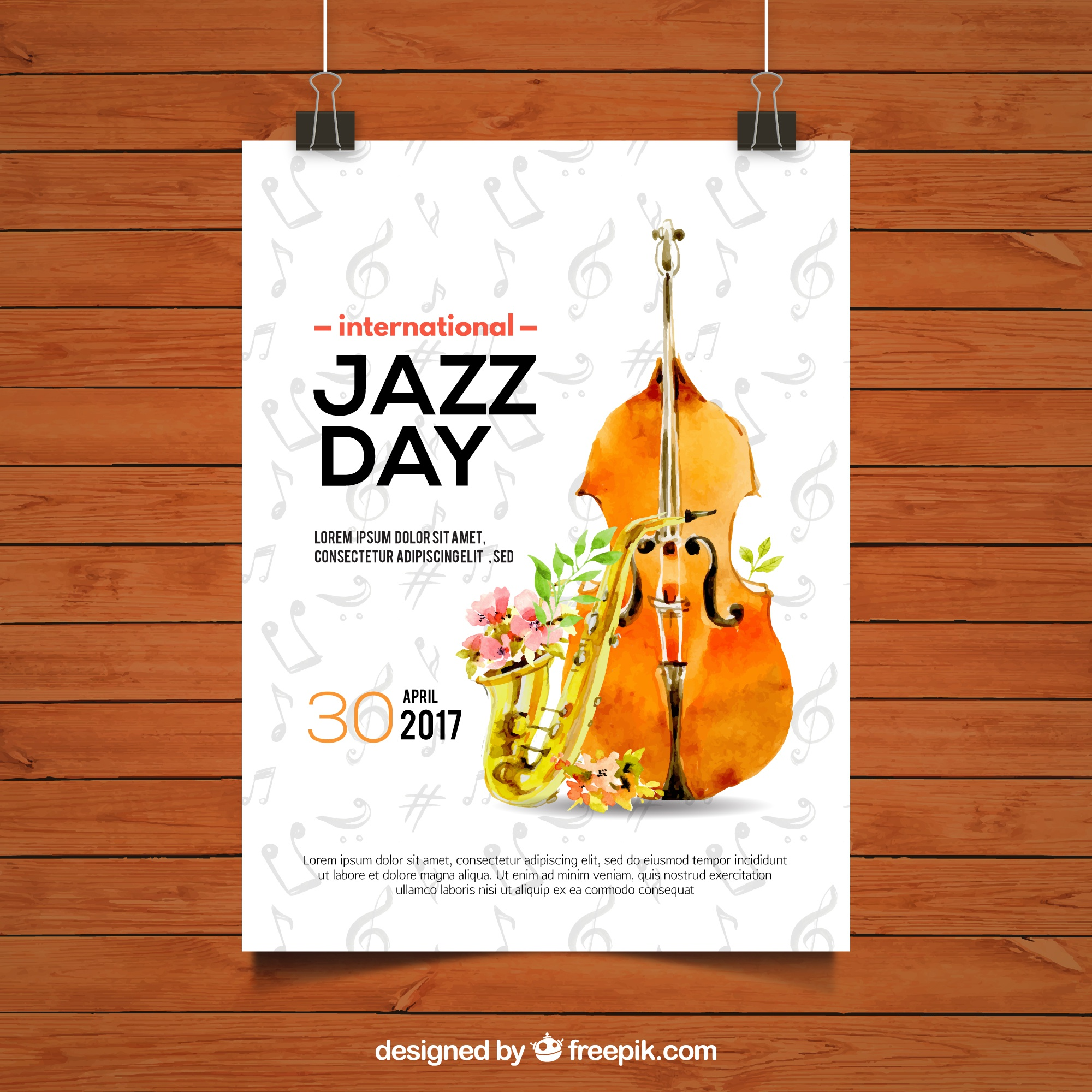 Jazz day brochure with violin and watercolor saxophone