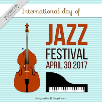 Jazz festival background with musical instruments