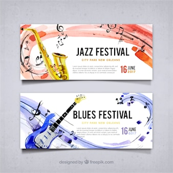 Jazz festival banners and watercolor blues
