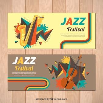 サックスやバイオリンとジャズフェスティバルのバナー