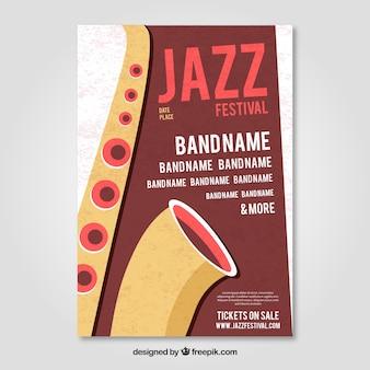 Jazz festival brochure with saxophone
