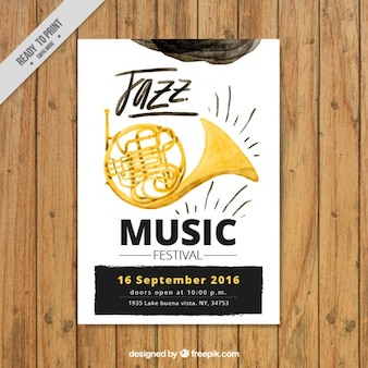 Jazz music festival poster in watercolor effect
