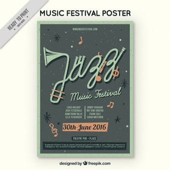 Jazz music poster in vintage style