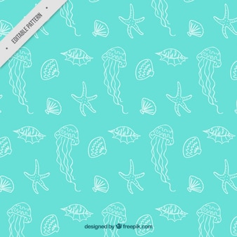 Jellyfish and shells pattern