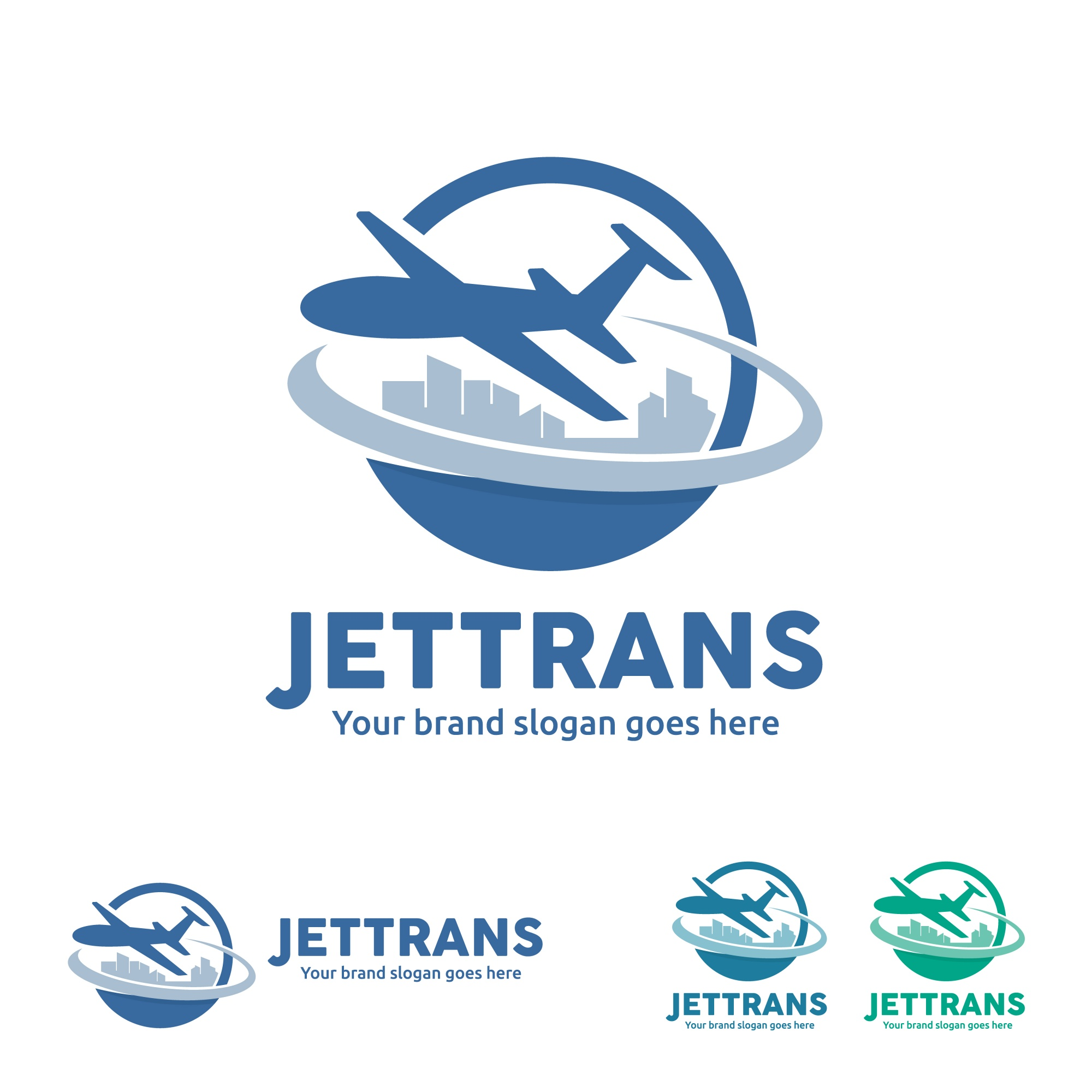 Jet Aircraft with Globe and City Skyline symbol for Travel Agency, Tour company, Air Ticket Agency, Air transport Business.