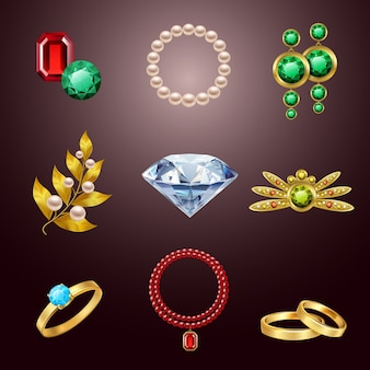 Jewelry realistic icons
