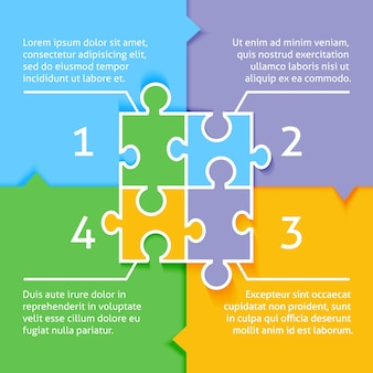 Jigsaw puzzle infographic background with option choices labels vector illustration