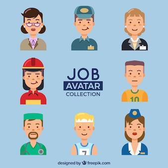 Job avatars with flat design