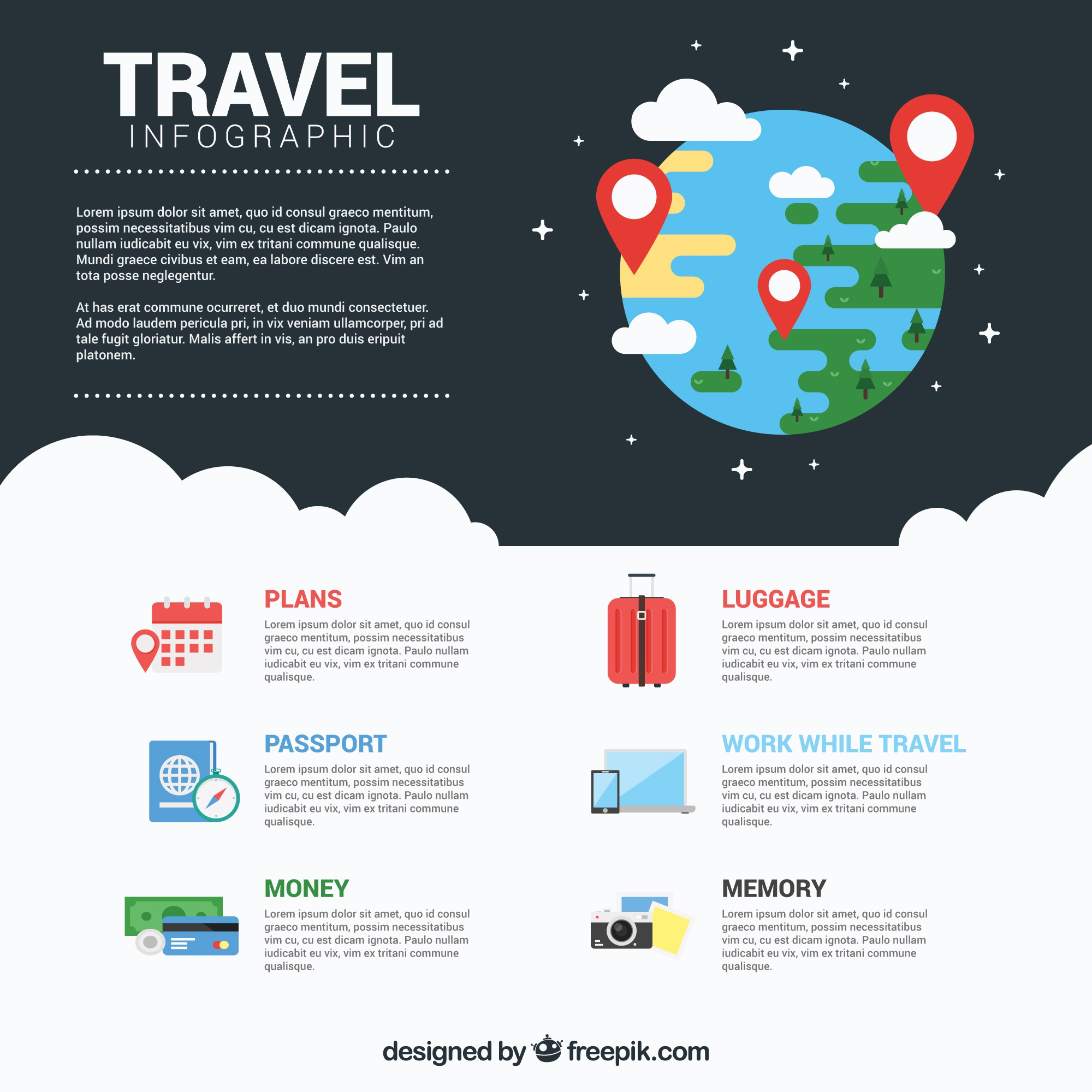 Journey infography with Earth drawing