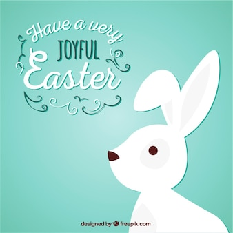 Joyful easter with a white bunny
